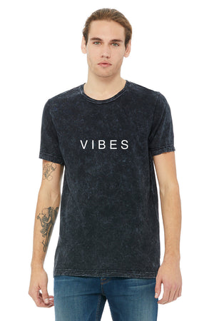"""VIBES"" Mineral Wash Tee - Black - MENS"