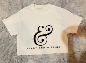 LOGO Ladies Crop Top Tee Shirt - WHITE