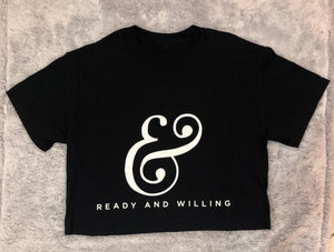 LOGO Ladies Crop Top Tee Shirt - BLACK
