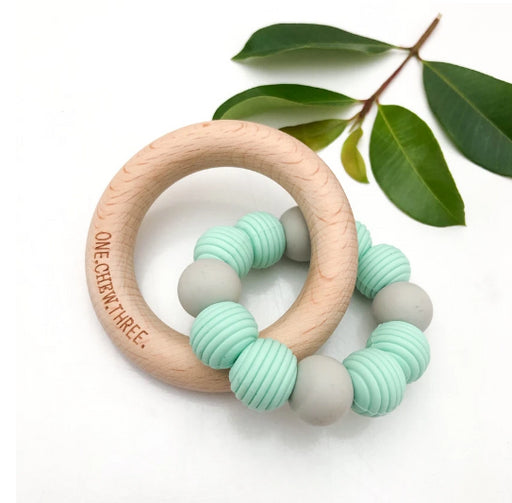 ONE CHEW THREE BEEHIVE Silicone and Beech Wood Teether- MINTY GREY