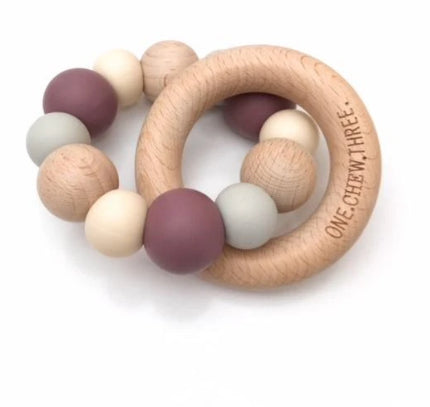 ONE CHEW THREE NATURALS Silicone and Beech Wood Teether-DUSTY PURPLE