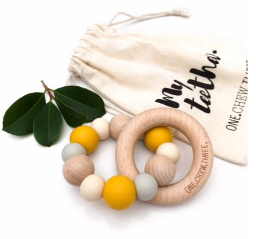 ONE CHEW THREE NATURALS Silicone and Beech Wood Teether-MUSTARD