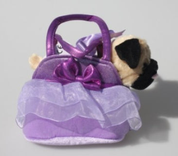 COTTON CANDY -Pug in Purple Bag