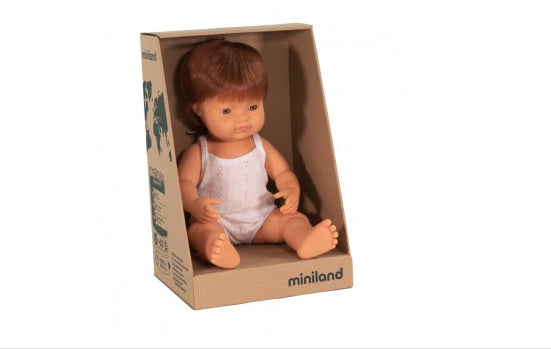 Miniland Doll - Anatomically Correct Baby, Caucasian Boy, Red Head, 38 cm