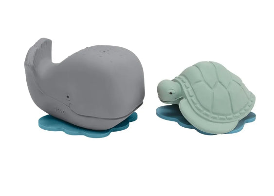 Hevea Natural Rubber Ingolf Grey Whale & Dagmar Turtle Set