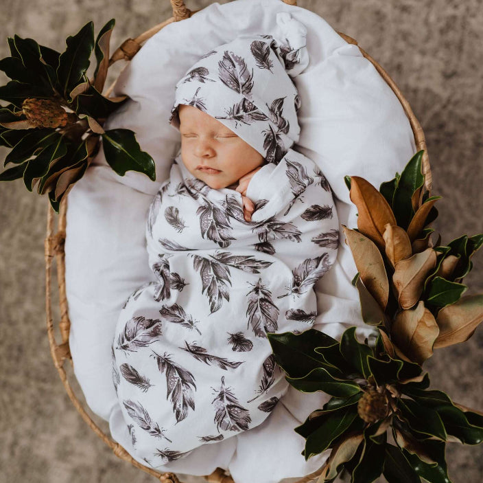 Snuggle  Hunny Swaddle Sack  & Beanie Set -QUILL