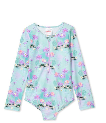 MILKY FLAMINGO L/S SWIMSUIT
