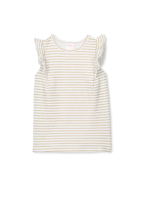 MILKY GOLD STRIPE T-SHIRT - GOLD/WHITE