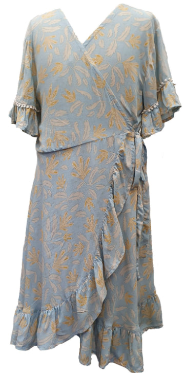 MII LOVE MU WRAP DRESS- BLUE HAZE LEAF