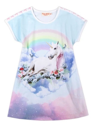 Paper Wings Flared T-shirt Dress - Unicorn Cloud
