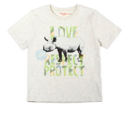 Paper Wings Classic T-shirt - Love Respect Protect Rhino