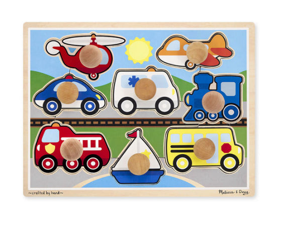 melissa and doug vehicles jumpo knob jigsaw