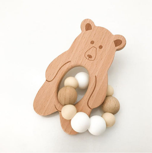 One Chew Three Bear Natural Beechwood silicone Teether White