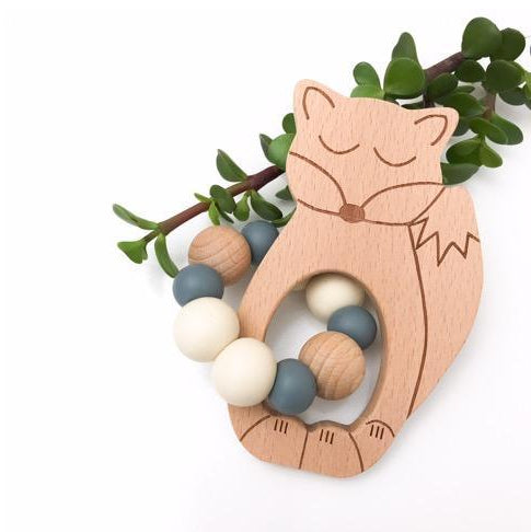 One Chew Three Fox Beech Wood Silicone Teether/ Natural Grey