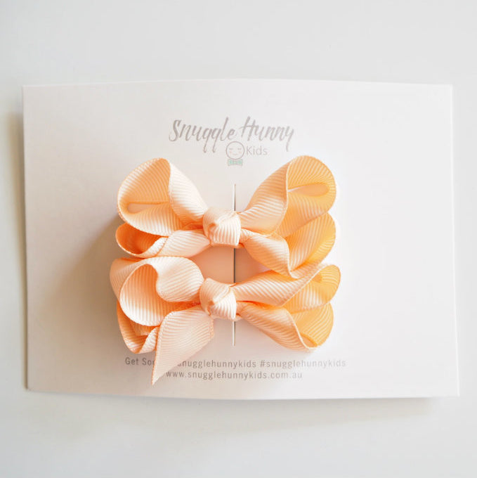 Snuggle Hunny Peach Clip Bow /Small Piggy Tail Bow