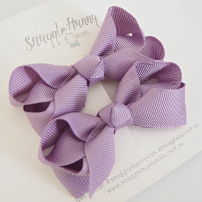Snuggle Hunny Lilac Clip Bow/small piggy tail pair