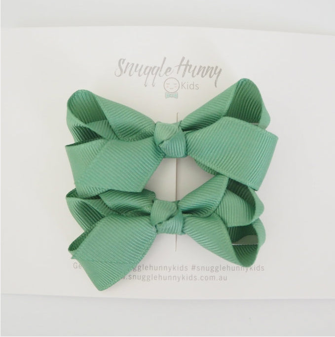 Snuggle Hunny Olive Green Clip Bow /small piggy tail pair