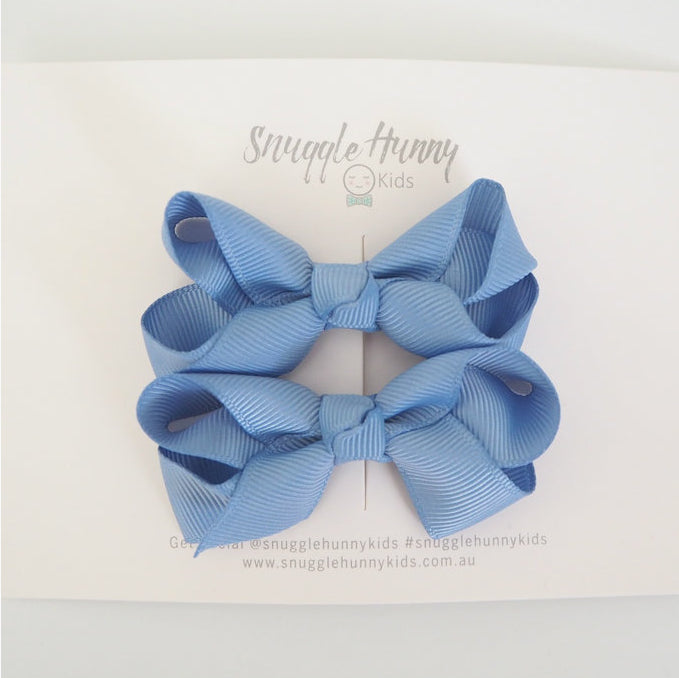 Snuggle Hunny Teal Blue Clip Bow/small piggy tail pair