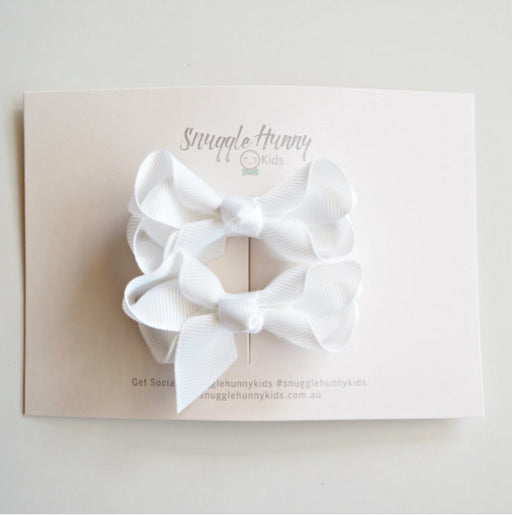 Snuggle Hunny White Clip Bow /small piggy tail pair