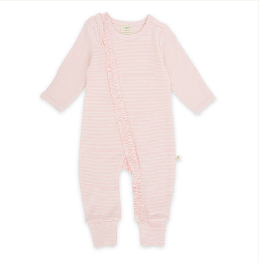 Tiny Twig Organic Cotton Frill Zipsuit  L/S Pink Stripes