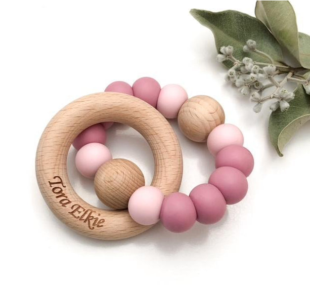 One Chew Three Single Rattle Silicone And BeechWood Teether /Dusty Rose With Pink