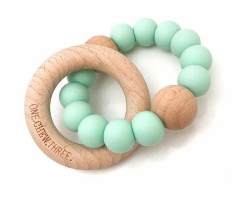 One Chew Three Single Rattle Silicone And BeechWood Teether / Mint