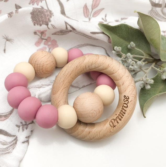 One Chew Three Single Rattle Silicone and BeechWood Teether / Dusty Pink With Cream