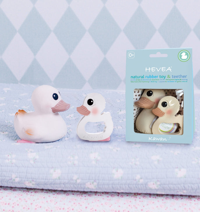 Hevea Natural Rubber Duck Kawan Bath Toy and Teether COMBO GIFT PACK