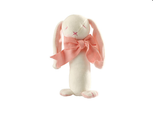 Maud And Lill Baby Gift Soft Toy Stick Rattle (Organic) – Rose The Bunny