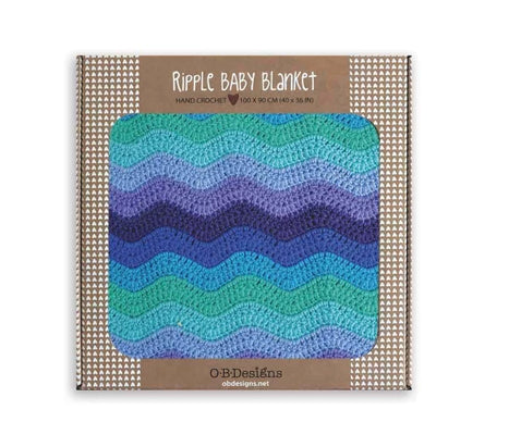 OB DESIGNS Hand Crochet Blue Baby Blanket