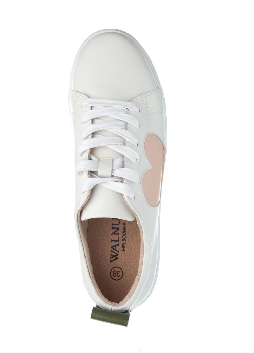 Walnut Heart Multi  Sneaker /White /Blush
