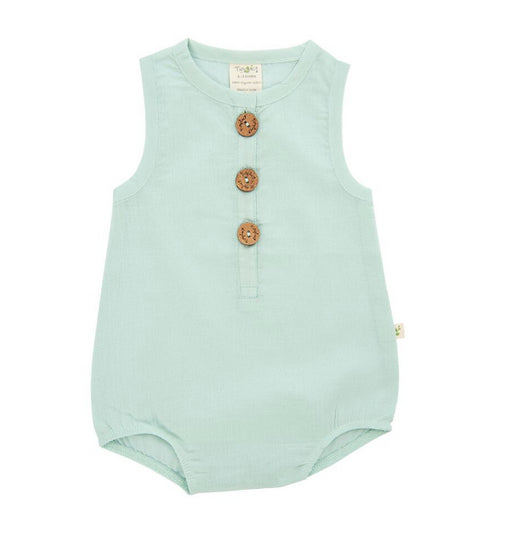 Tiny Twig Bubble Romper -Ocean Green -Organic Cotton