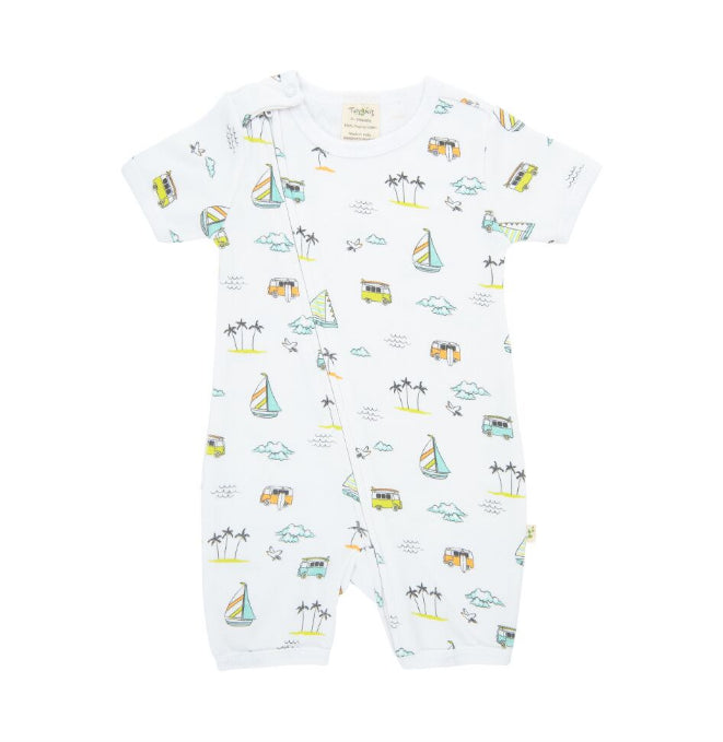 Tiny Twig ZipSuit -Sail Boats-Organic Cotton