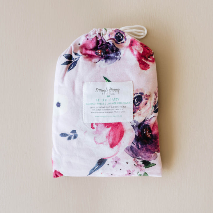 SNUGGLE HUNNY Floral Kiss | Bassinet Sheet