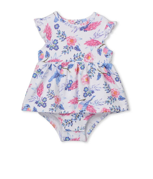 MILKY BABY FLORAL DRESS - WHITE/BLUE