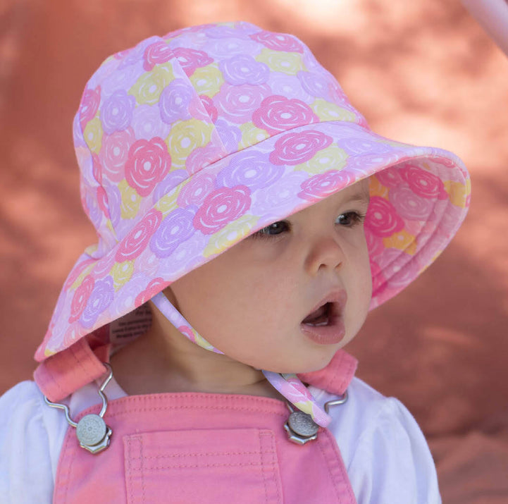 BEDHEAD Girls Toddler Bucket Hat 'Rose' Print UPF50+ Baby Sun Hat with Chin Strap