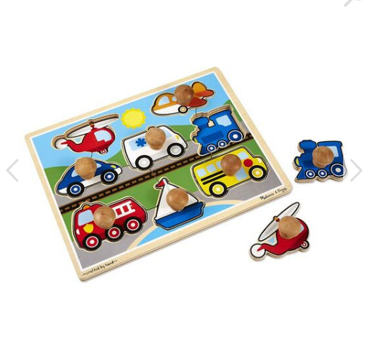 MELISSA AND DOUG Vehicles Jumbo Knob Puzzle - 8 pieces