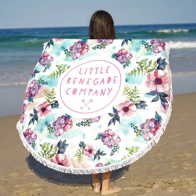 LITTLE RENEGADE -PASTEL POSIES ROUND TOWEL