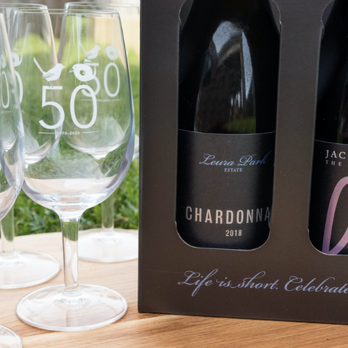 Curlewis Golf Club 50 Year Commemorative Glasses & Premium Double Wine Pack