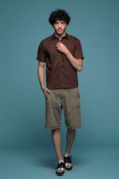Men Deep Brown Shirt - Earth Major