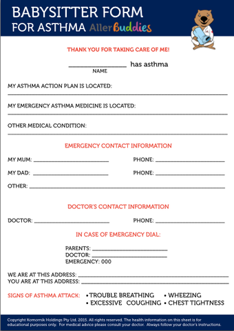 Babysitter form for children with asthma