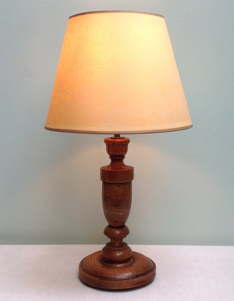 Vintage oak turned lamp
