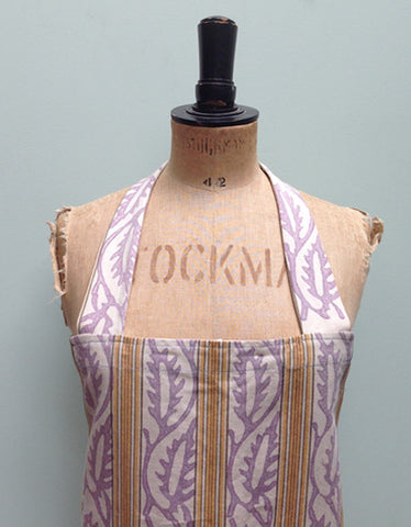 Mauve & ticking apron