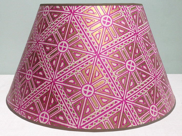 "18"" & 20"" lampshade of Vintage hand blocked Indian paper"