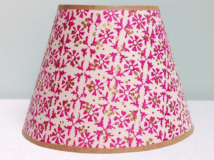 Vintage Indian hand blocked paper lampshade