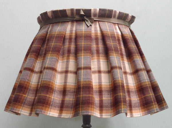 Box pleated tartan lampshade