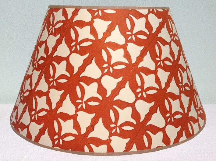 "22"" burnt orange, bell and leaf lampshade"