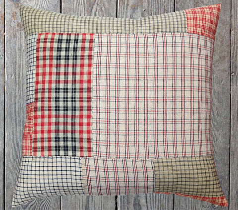 Red & blue patchwork cushion