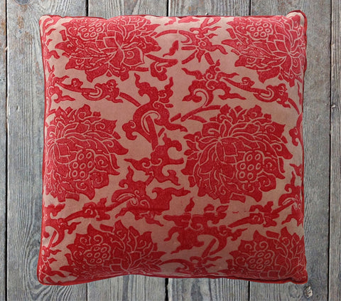 Red peony velvet cushion