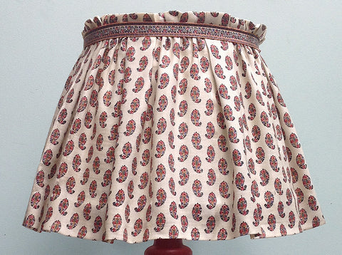 "15"" Antique wool paisley printed lampshade"